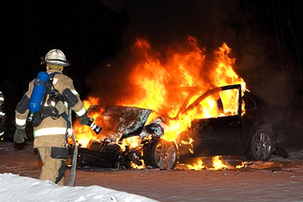 Rescue workers in Shreveport must frequently respond to accidents like this car fire. Shreveport rescue workers respond to auto accidents, but you need a Shreveport Car Accident Attorney to protect your rights. Contact a Shreveport, LA auto accident lawyer today.