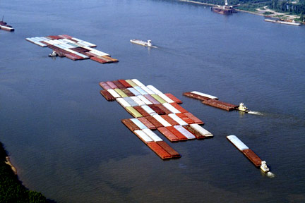 This is a fleet of barges like those that float up and down the Mississippi River. If you were injured on a barge near Shreveport or in Northwestern Louisiana, call a Shreveport Maritime Attorney today.