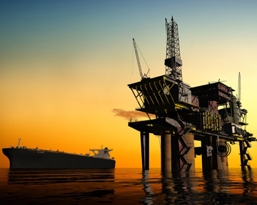 This image depicts an oil rig like one of the many rigs along the Gulf Coast of Louisiana, Florida, Alabama, Mississippi, and Texas. Unfortunately, many oil rig workers are injured or killed every year. Contact a Shreveport Personal Injury Lawyer or Shreveport Wrongful Death Lawyer today to discuss your rights.